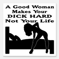 """Dick Hard Not Your Life Square Car Magnet 3"""" x 3"""""""