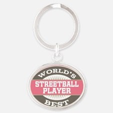 streetball player Oval Keychain