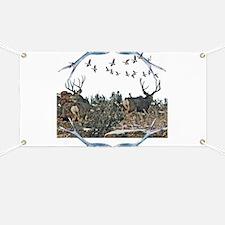 Buck mule deer and geese Banner