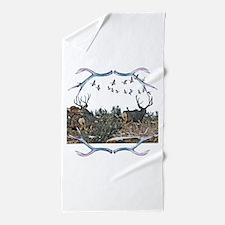 Buck mule deer and geese Beach Towel