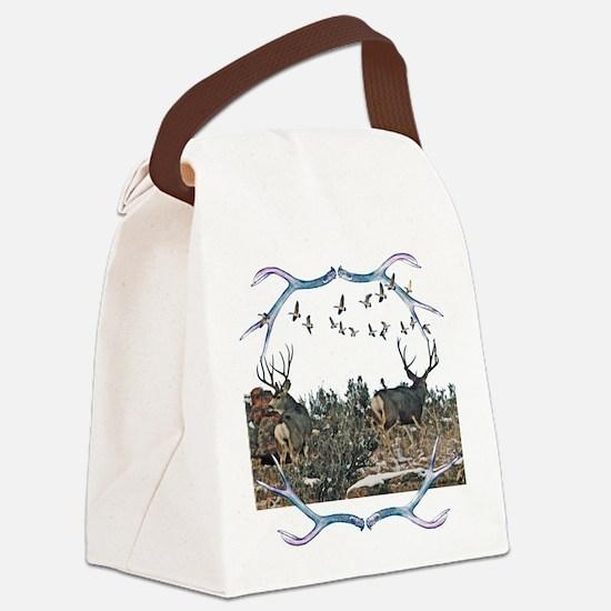 Buck mule deer and geese Canvas Lunch Bag