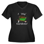 I Dig Garden Women's Plus Size V-Neck Dark T-Shirt