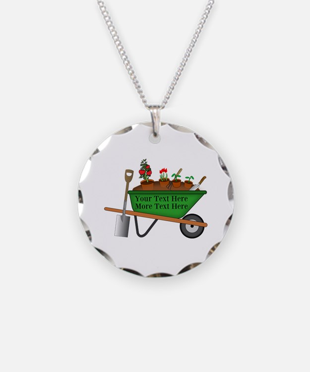 Personalized Green Wheelbarr Necklace Circle Charm