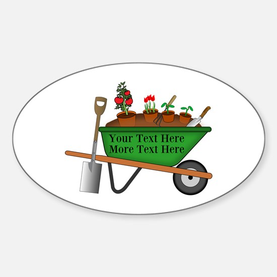 Personalized Green Wheelbarrow Sticker (Oval)