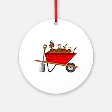 Personalized Red Wheelbarrow Round Ornament