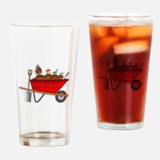Personalized Red Wheelbarrow Drinking Glass