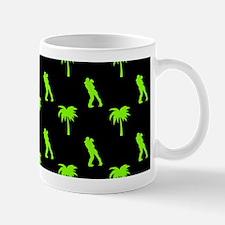 Romantic Couple & Palms Pattern (Green) Mugs