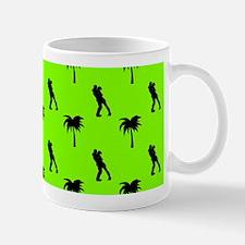 Romantic Couple & Palms Pattern (Green Mug