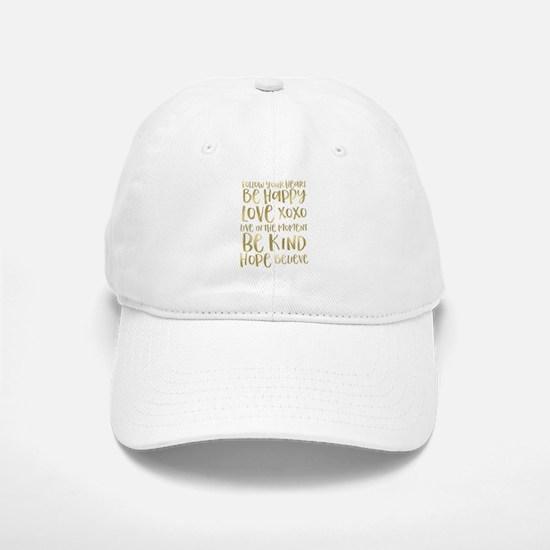 Gold Inspirational Words Baseball Baseball Baseball Cap