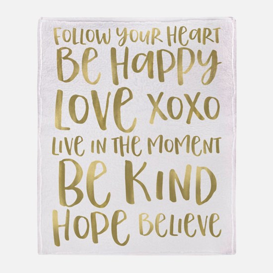Gold Inspirational Words Throw Blanket
