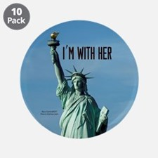 """Women's Marches–I'm With Her 3.5"""" Button (10 pack)"""