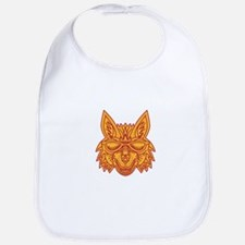 Coyote Head Sunglasses Smiling Mono Line Baby Bib