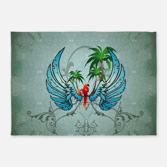 Cute parrot with wings and palm 5'x7'Area Rug