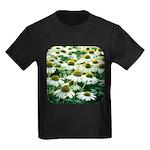 Echinacea White Coneflower Kids Dark T-Shirt