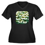 Echinacea White Coneflower Women's Plus Size V-Nec