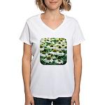 Echinacea White Coneflower Women's V-Neck T-Shirt