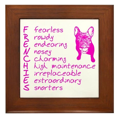 F R E N C H I E S pink Framed Tile
