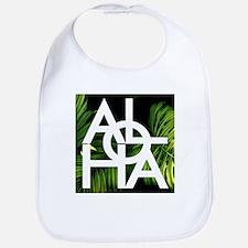 Aloha Whitre Graphic Palm Print Baby Bib