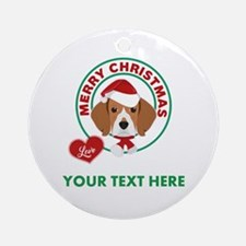 Custom Beagle Christmas Round Ornament