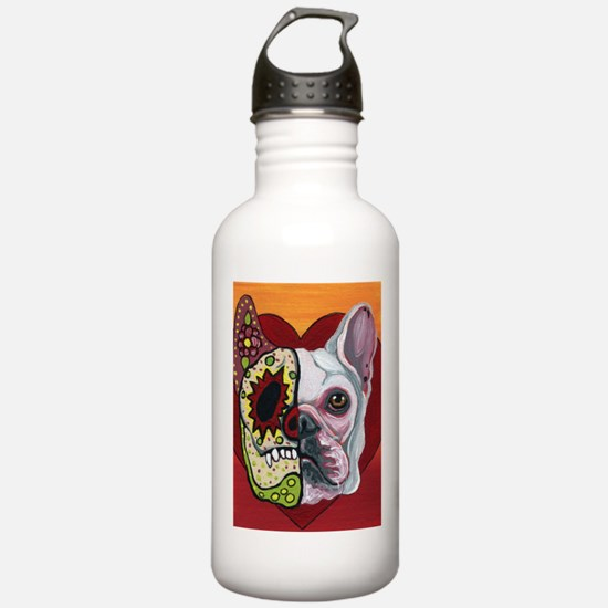 Sugar Skull White Frenchie Water Bottle