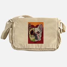 Sugar Skull White Frenchie Messenger Bag