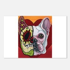 Sugar Skull White Frenchie Postcards (Package of 8