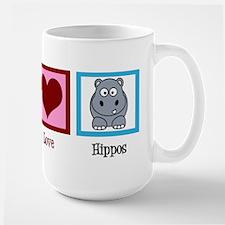 Peace Love Hippos Large Mug