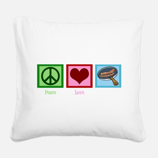 Cute Love bacon Square Canvas Pillow