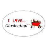I Love Gardening Sticker (Oval 50 pk)