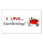 I Love Gardening Sticker (Rectangle 10 pk)
