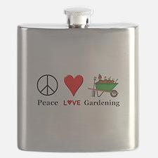 Peace Love Gardening Flask