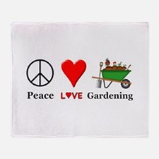 Peace Love Gardening Throw Blanket