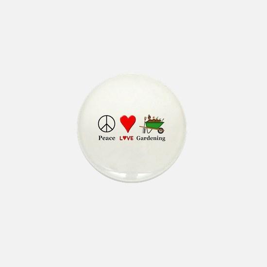 Peace Love Gardening Mini Button