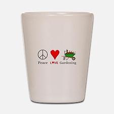 Peace Love Gardening Shot Glass