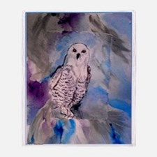 Snowy owl, bird art Throw Blanket