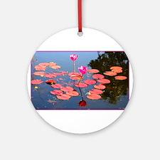 water lily, garden pond photo Round Ornament