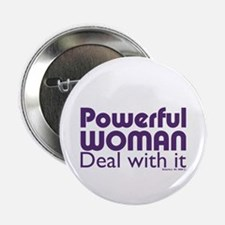 "Feminist Powerful Woman Purple Bold 2.25"" Button"