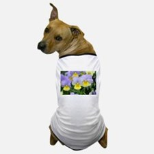 yellow purple pansy flower Dog T-Shirt
