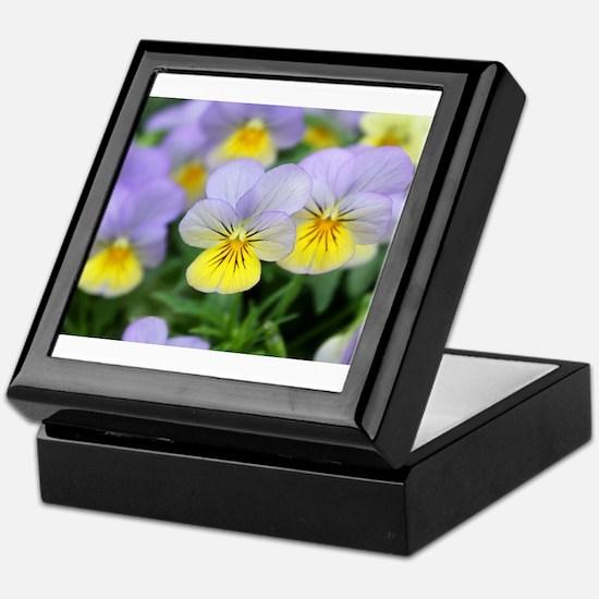 yellow purple pansy flower Keepsake Box