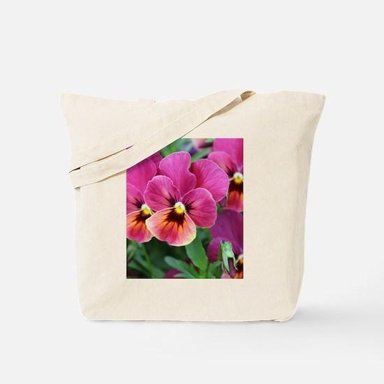 European Garden Pink Pansy Flower Tote Bag