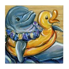 Dolphin Rubber Duckie Tile Coaster