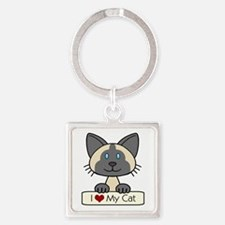 I Love My Cat Square Keychain