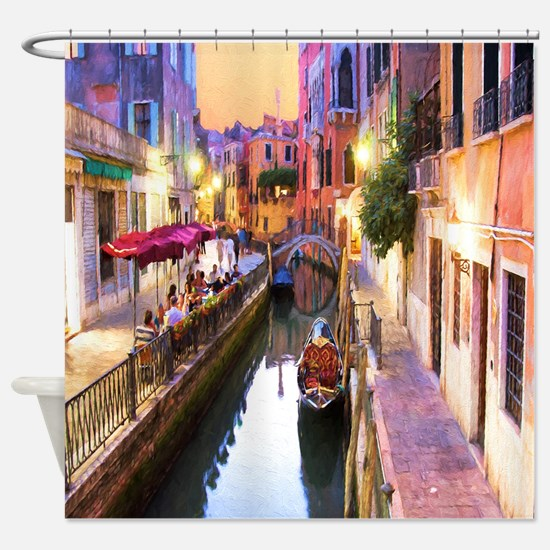 Romantic Canal In Venice Italy Shower Curtain