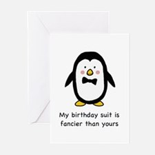 Penguin birthday suit Greeting Cards