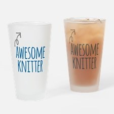 Awesome knitter Drinking Glass