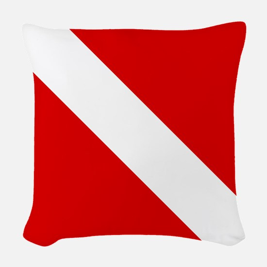 Diving: Diving Flag Woven Throw Pillow