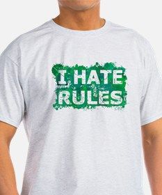 I Hate Rules (Ink Spots) (Green) T-Shirt