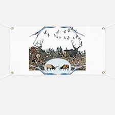 Deer elk and geese Banner