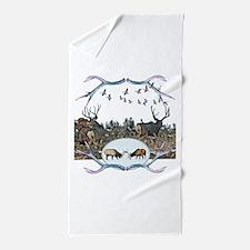 Deer elk and geese Beach Towel