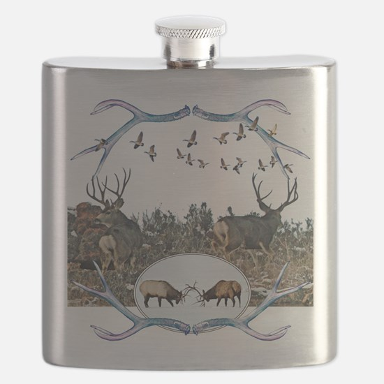 Deer elk and geese Flask